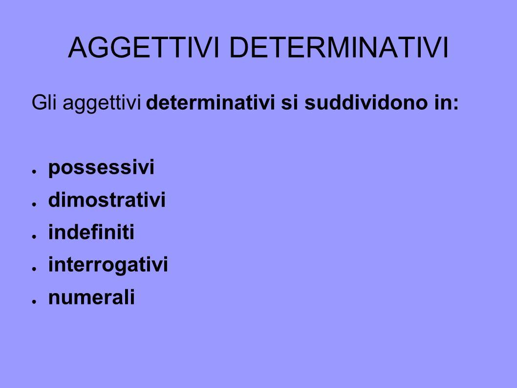 AGGETTIVI DETERMINATIVI Gli aggettivi determinativi si suddividono in: possessivi dimostrativi indefiniti interrogativi numerali