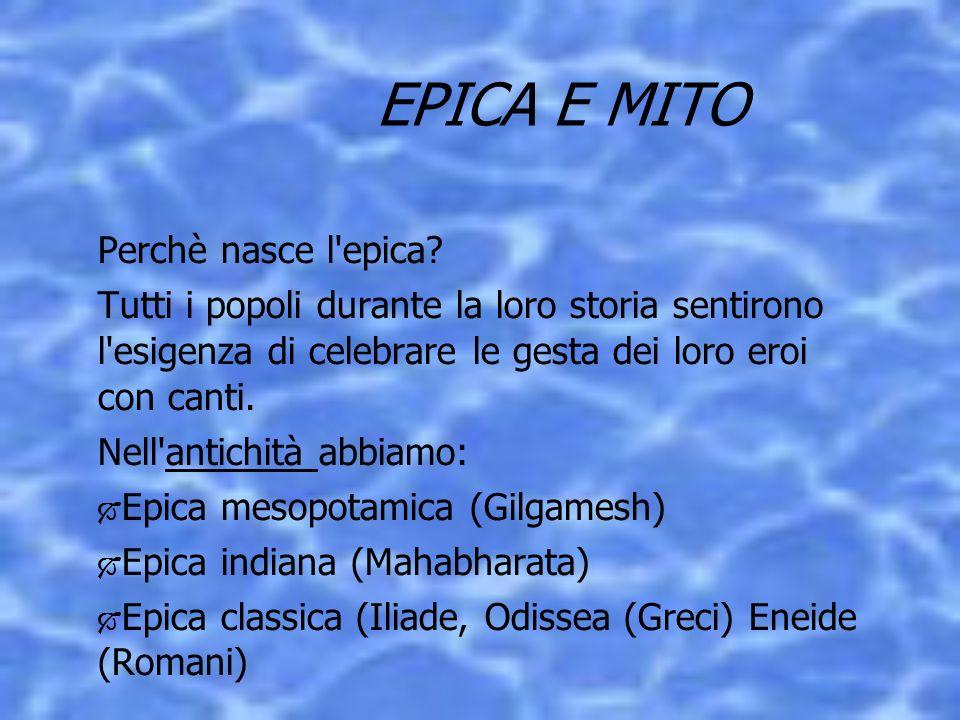 Nel Medioevo nascono : Epica sassone (Beowulf) Epica carolingia (Chanson de Roland) Epica spagnola (Cantar de mio Cid) Epica germanica (I Nibelunghi) Epica finnica (Il Kelevala) Epica serbo-croata (che perdura fino al 900)