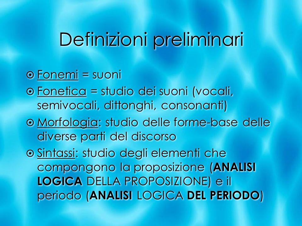 Definizioni preliminari Fonemi = suoni Fonetica = studio dei suoni (vocali, semivocali, dittonghi, consonanti) Morfologia: studio delle forme-base del
