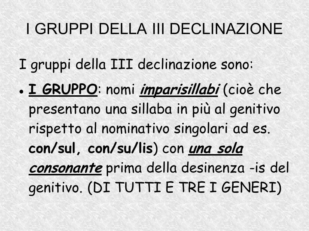 I GRUPPI DELLA III DECLINAZIONE I gruppi della III declinazione sono: I GRUPPO: nomi imparisillabi (cioè che presentano una sillaba in più al genitivo