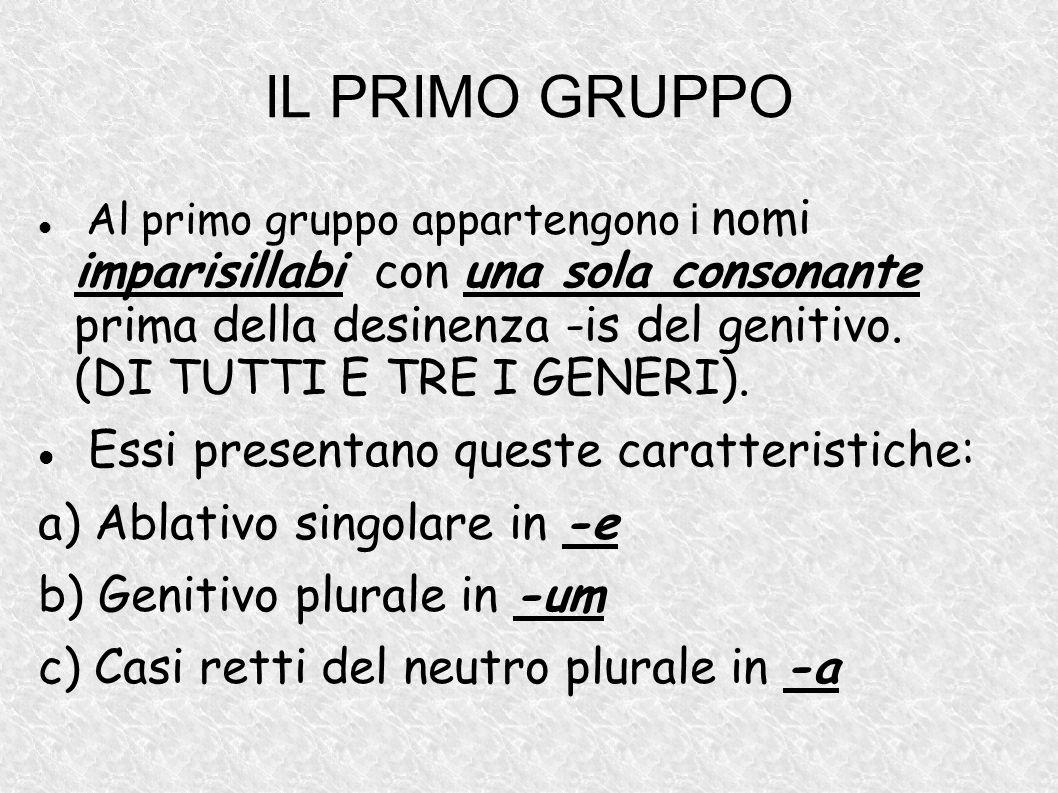 IL PRIMO GRUPPO Al primo gruppo appartengono i nomi imparisillabi con una sola consonante prima della desinenza -is del genitivo. (DI TUTTI E TRE I GE