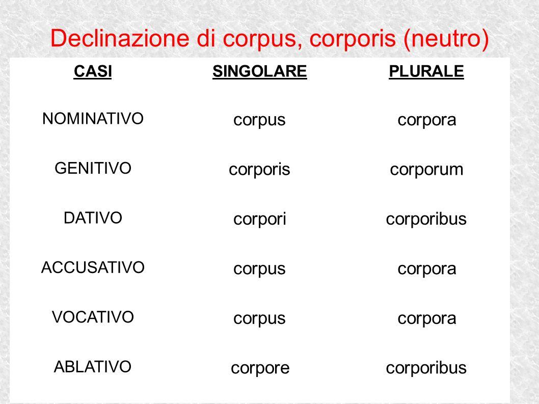 Declinazione di corpus, corporis (neutro) CASISINGOLAREPLURALE NOMINATIVO corpuscorpora GENITIVO corporiscorporum DATIVO corporicorporibus ACCUSATIVO