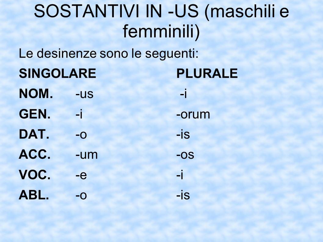 SOSTANTIVI IN -US (maschili e femminili) Le desinenze sono le seguenti: SINGOLAREPLURALE NOM.-us -i GEN.-i-orum DAT.-o-is ACC.-um-os VOC.-e-i ABL.-o-i