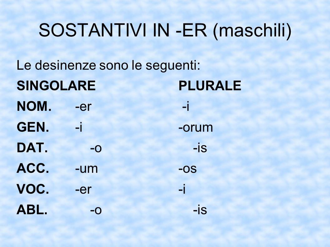 SOSTANTIVI IN -ER (maschili) Le desinenze sono le seguenti: SINGOLAREPLURALE NOM.-er -i GEN.-i-orum DAT.-o-is ACC.-um-os VOC.-er-i ABL.-o-is