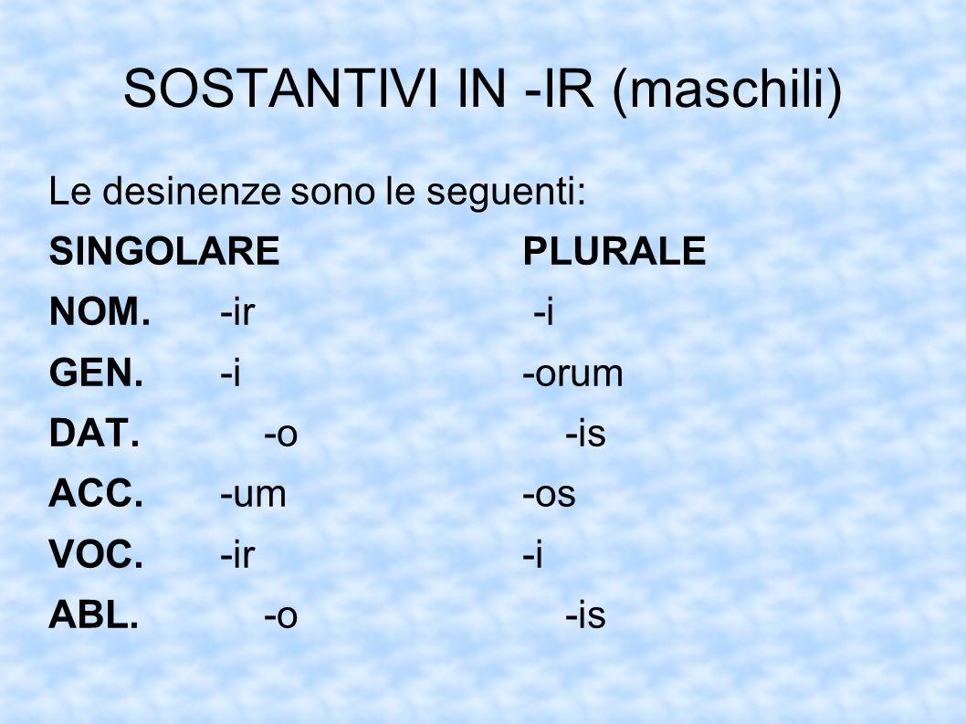 SOSTANTIVI IN -IR (maschili) Le desinenze sono le seguenti: SINGOLAREPLURALE NOM.-ir -i GEN.-i-orum DAT.-o-is ACC.-um-os VOC.-ir-i ABL.-o-is