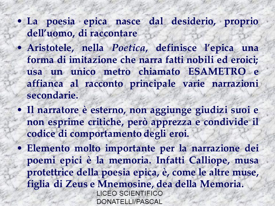LICEO SCIENTIFICO DONATELLI/PASCAL MILANO LA TRADIZIONE DEI POEMI OMERICI