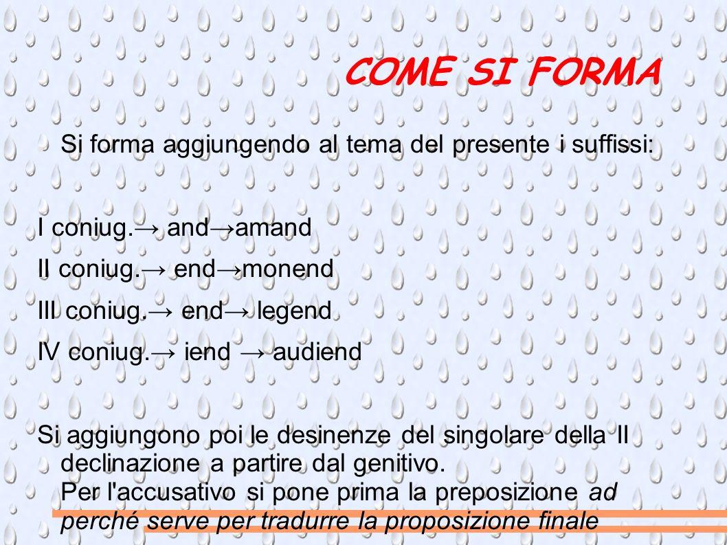 COME SI FORMA Si forma aggiungendo al tema del presente i suffissi: I coniug.