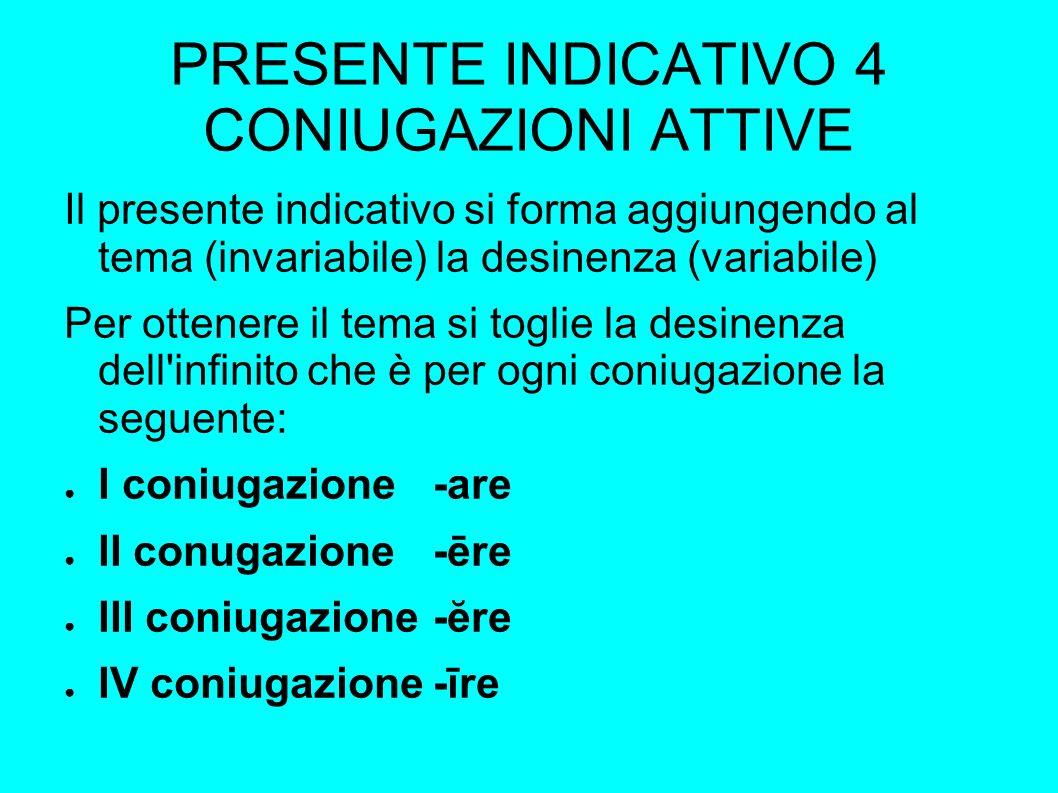 PRESENTE INDICATIVO 4 CONIUGAZIONI ATTIVE Il presente indicativo si forma aggiungendo al tema (invariabile) la desinenza (variabile) Per ottenere il tema si toglie la desinenza dell infinito che è per ogni coniugazione la seguente: I coniugazione-are II conugazione-ēre III coniugazione-ĕre IV coniugazione-īre