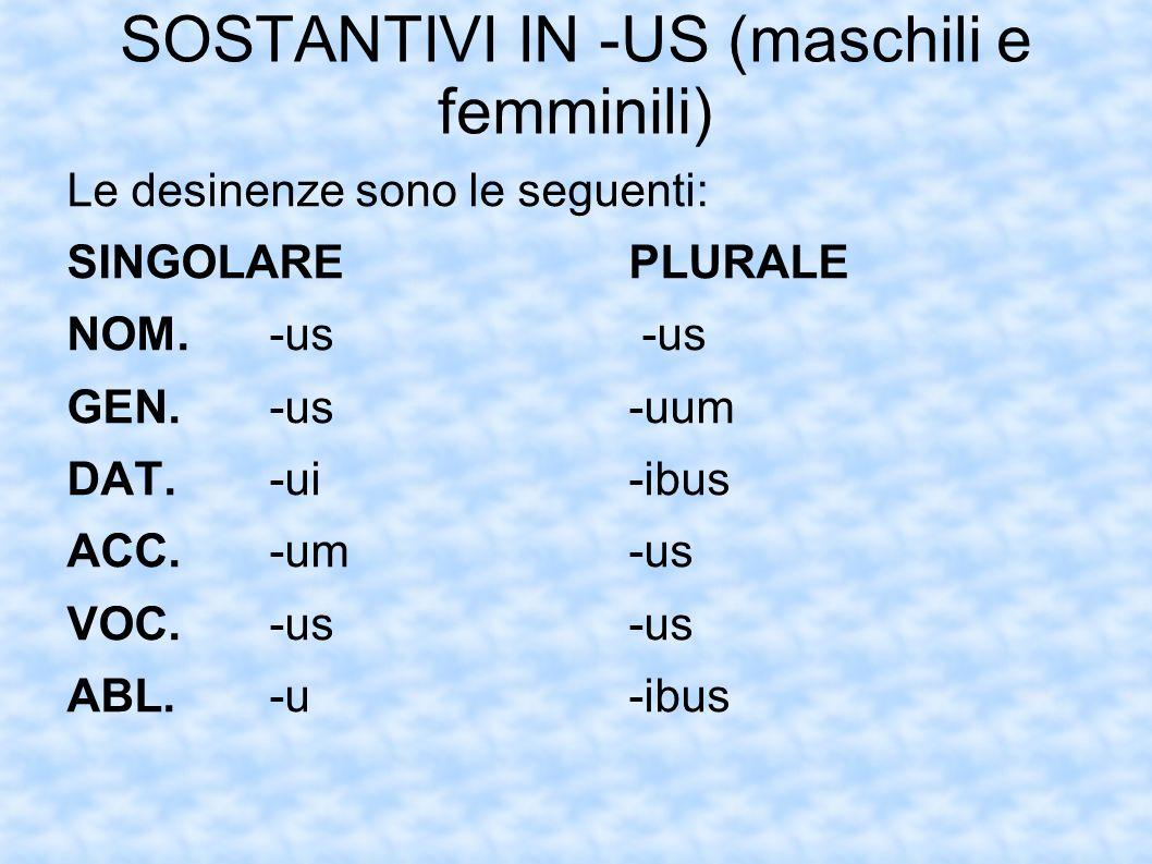 SOSTANTIVI IN -US (maschili e femminili) Le desinenze sono le seguenti: SINGOLAREPLURALE NOM.-us -us GEN.-us-uum DAT.-ui-ibus ACC.-um-us VOC.-us-us AB