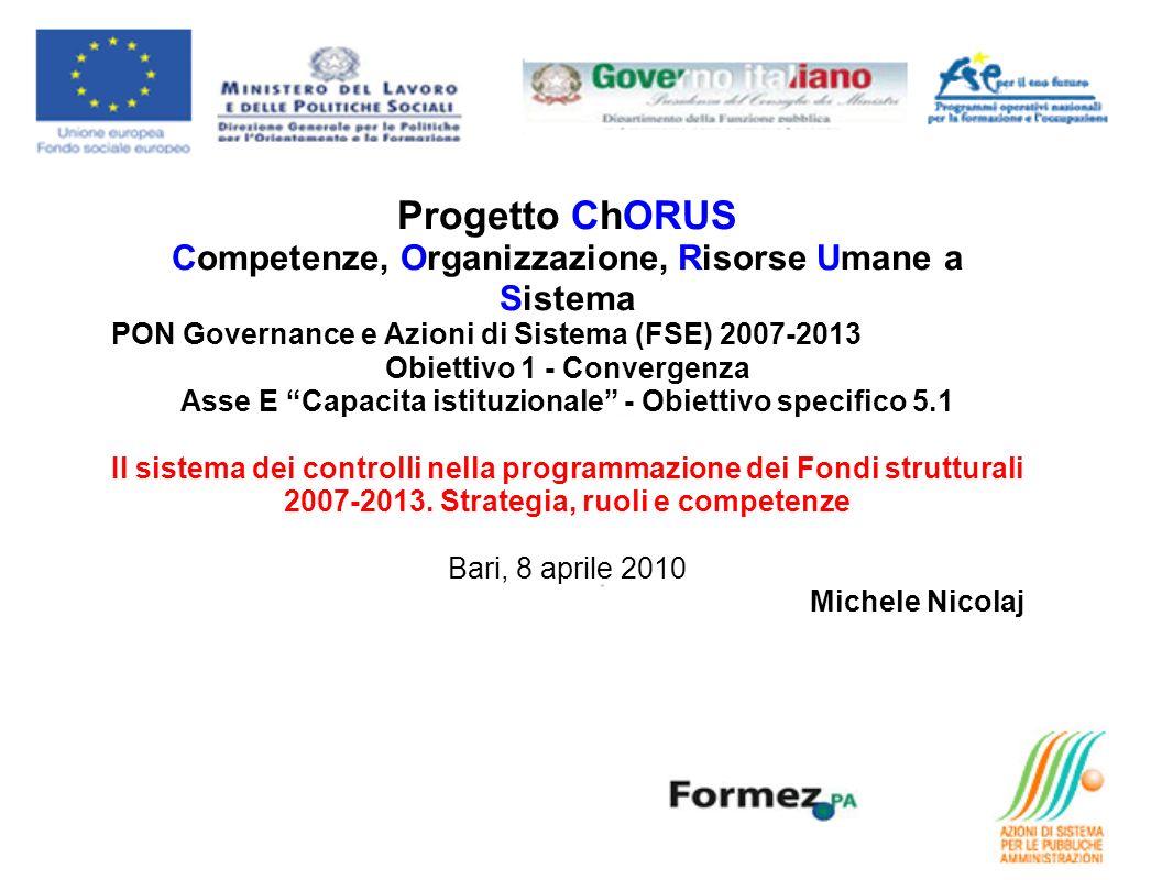 Progetto ChORUS Competenze, Organizzazione, Risorse Umane a Sistema PON Governance e Azioni di Sistema (FSE) 2007-2013 Obiettivo 1 - Convergenza Asse