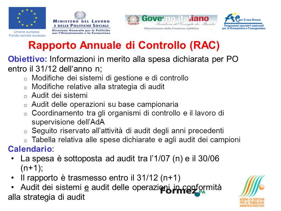 Rapporto Annuale di Controllo (RAC) Obiettivo: Informazioni in merito alla spesa dichiarata per PO entro il 31/12 dellanno n; o Modifiche dei sistemi