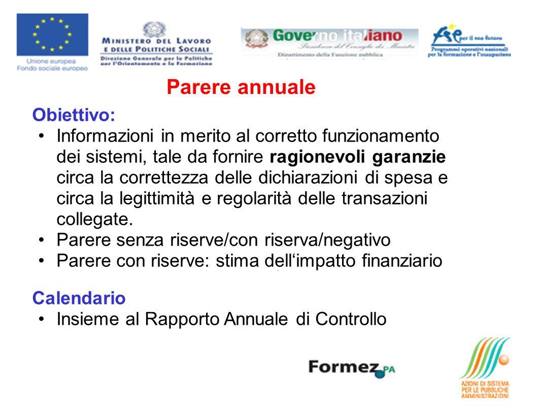 Parere annuale Obiettivo: Informazioni in merito al corretto funzionamento dei sistemi, tale da fornire ragionevoli garanzie circa la correttezza dell