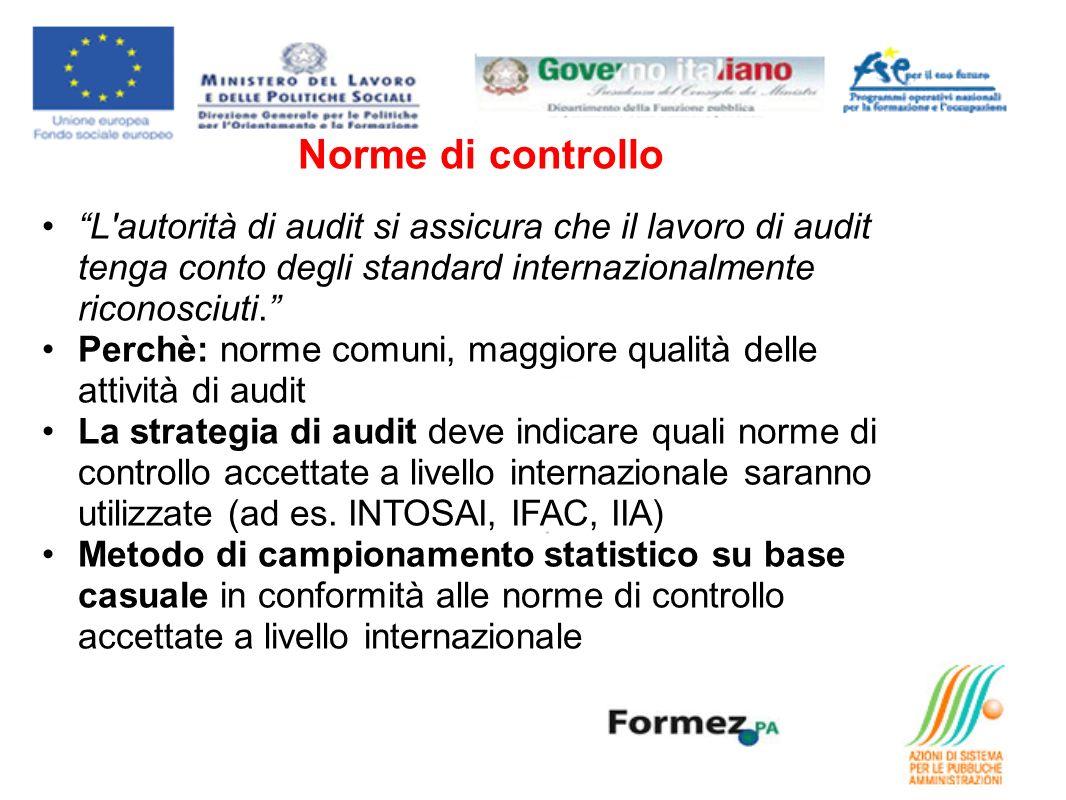 Norme di controllo L'autorità di audit si assicura che il lavoro di audit tenga conto degli standard internazionalmente riconosciuti. Perchè: norme co