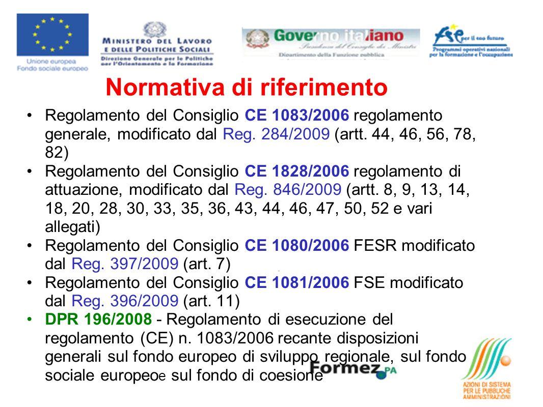 Normativa di riferimento Regolamento del Consiglio CE 1083/2006 regolamento generale, modificato dal Reg. 284/2009 (artt. 44, 46, 56, 78, 82) Regolame