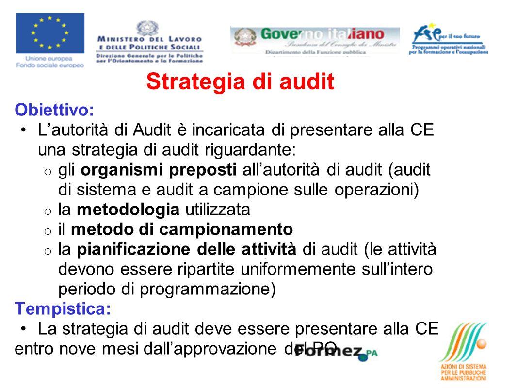 Strategia di audit Obiettivo: Lautorità di Audit è incaricata di presentare alla CE una strategia di audit riguardante: o gli organismi preposti allau