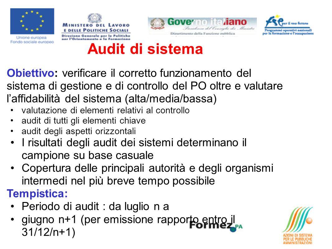 Audit di sistema Obiettivo: verificare il corretto funzionamento del sistema di gestione e di controllo del PO oltre e valutare laffidabilità del sist