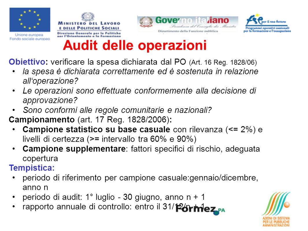 Audit delle operazioni Obiettivo: verificare la spesa dichiarata dal PO (Art. 16 Reg. 1828/06) la spesa è dichiarata correttamente ed è sostenuta in r