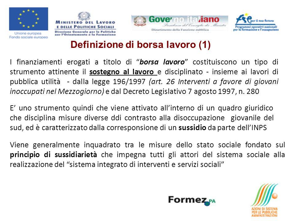 I finanziamenti erogati a titolo di borsa lavoro costituiscono un tipo di strumento attinente il sostegno al lavoro e disciplinato - insieme ai lavori di pubblica utilità - dalla legge 196/1997 (art.