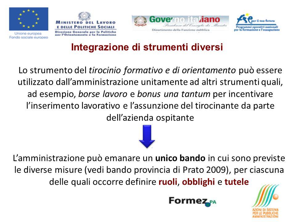 Integrazione di strumenti diversi Lo strumento del tirocinio formativo e di orientamento può essere utilizzato dallamministrazione unitamente ad altri