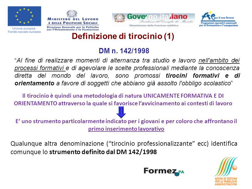 DM n. 142/1998 Al fine di realizzare momenti di alternanza tra studio e lavoro nell'ambito dei processi formativi e di agevolare le scelte professiona