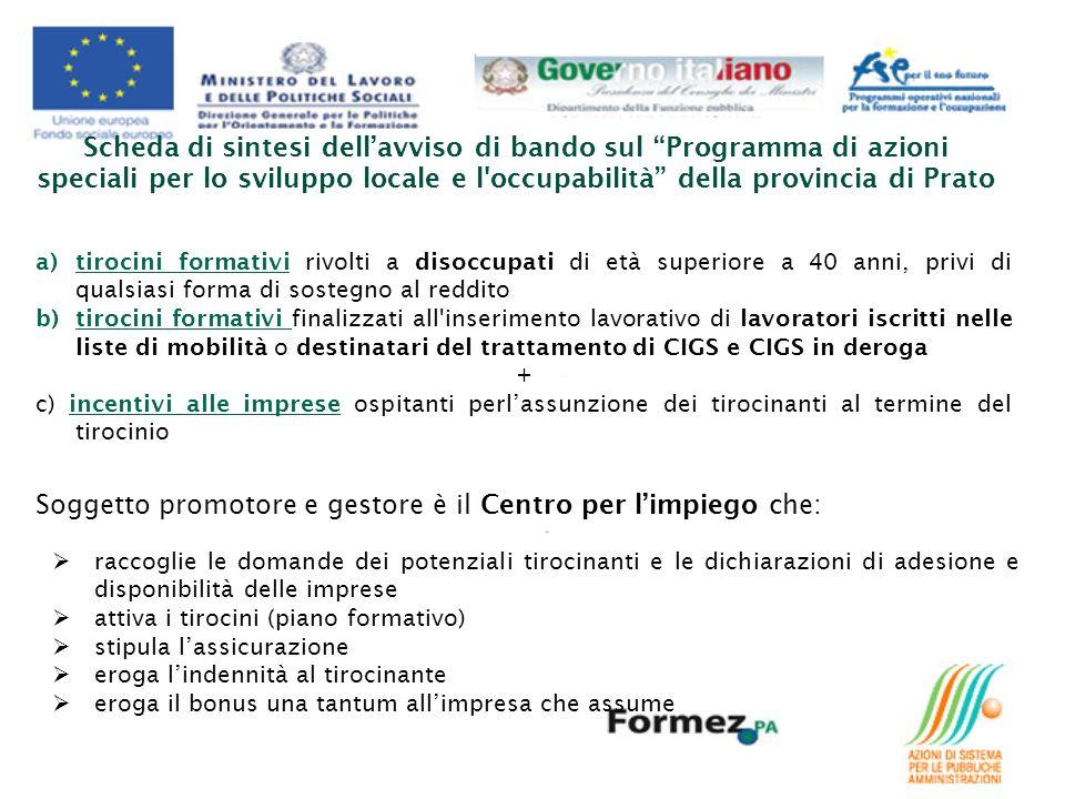 Scheda di sintesi dellavviso di bando sul Programma di azioni speciali per lo sviluppo locale e l'occupabilità della provincia di Prato a)tirocini for