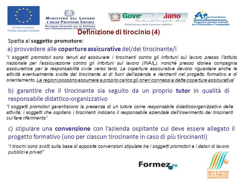 Spetta al soggetto promotore: a) provvedere alle coperture assicurative del/dei tirocinante/i I soggetti promotori sono tenuti ad assicurare i tirocin