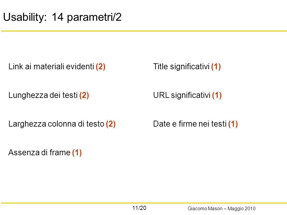11/20 Giacomo Mason – Maggio 2010 Usability: 14 parametri/2 Link ai materiali evidenti (2) Lunghezza dei testi (2) Larghezza colonna di testo (2) Assenza di frame (1) Title significativi (1) URL significativi (1) Date e firme nei testi (1)