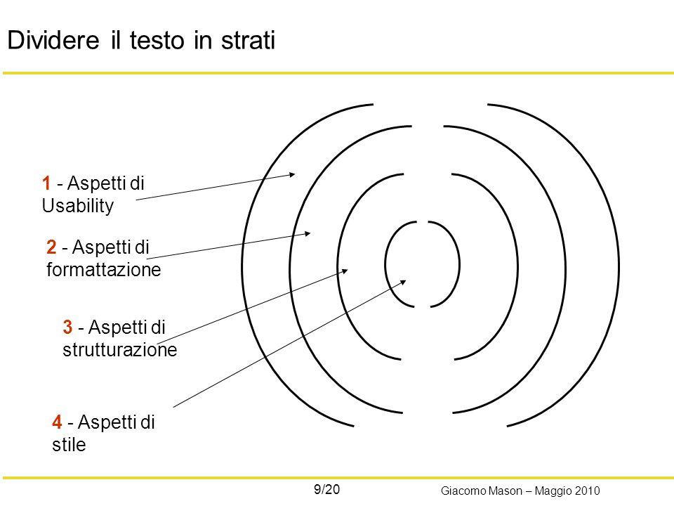20/20 Giacomo Mason – Maggio 2010 Work in progress… Sono giusti i parametri.