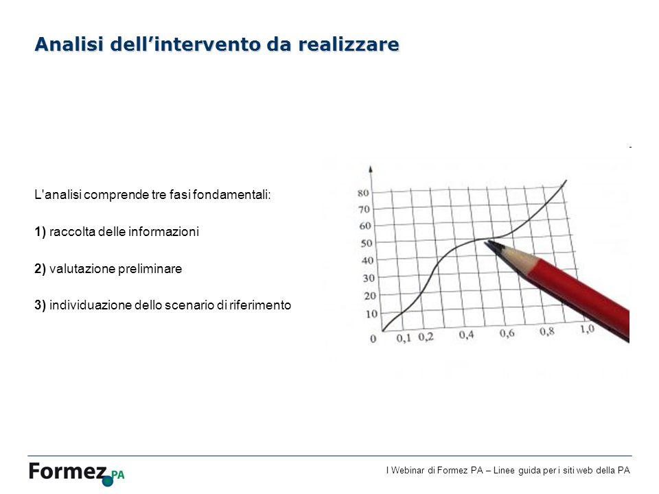 I Webinar di Formez PA – Linee guida per i siti web della PA L'analisi comprende tre fasi fondamentali: 1) raccolta delle informazioni 2) valutazione