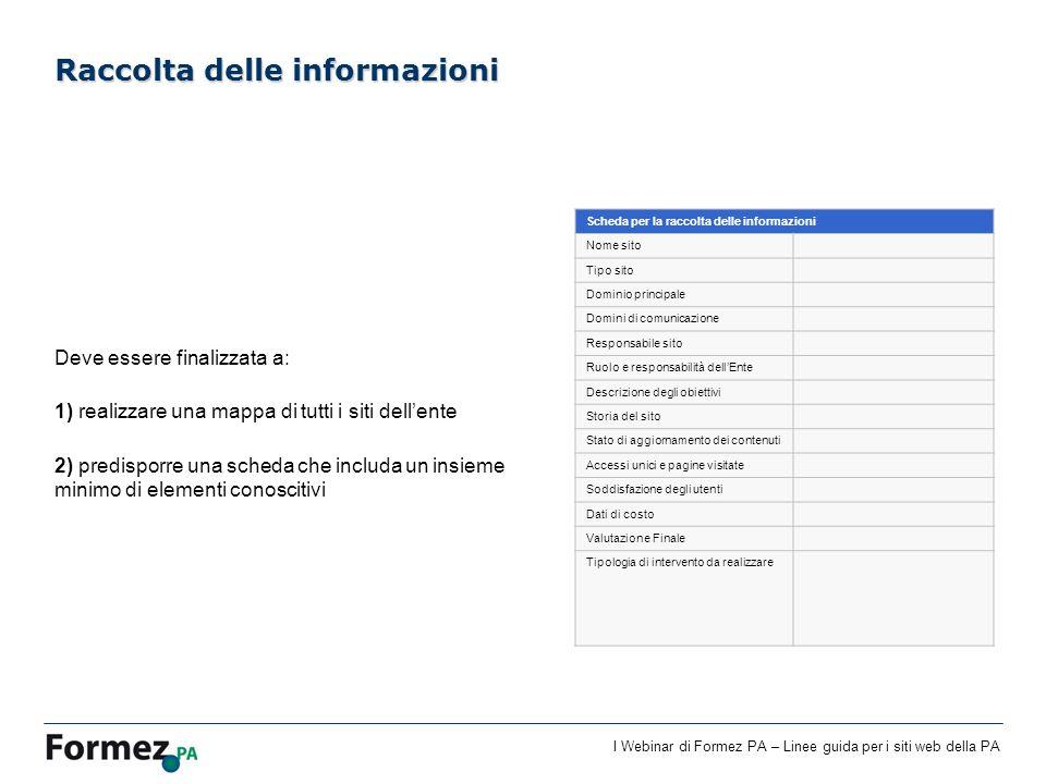I Webinar di Formez PA – Linee guida per i siti web della PA Deve essere finalizzata a: 1) realizzare una mappa di tutti i siti dellente 2) predisporr