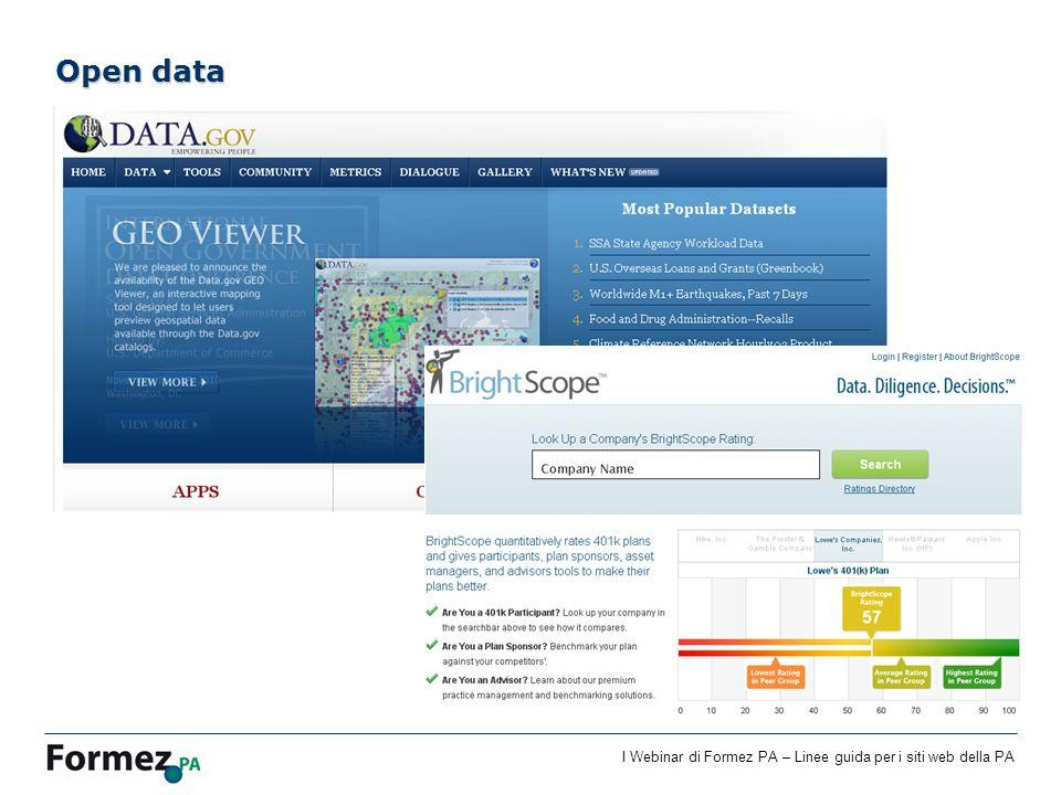 I Webinar di Formez PA – Linee guida per i siti web della PA Open data
