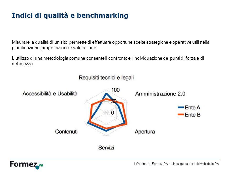 I Webinar di Formez PA – Linee guida per i siti web della PA Misurare la qualit à di un sito permette di effettuare opportune scelte strategiche e ope