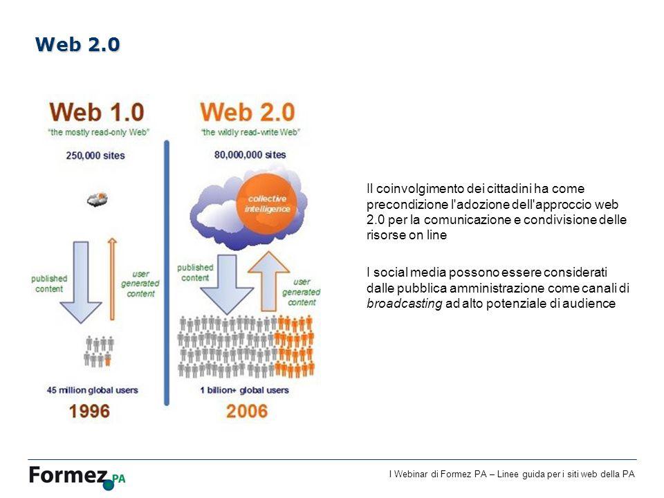 I Webinar di Formez PA – Linee guida per i siti web della PA Il coinvolgimento dei cittadini ha come precondizione l'adozione dell'approccio web 2.0 p