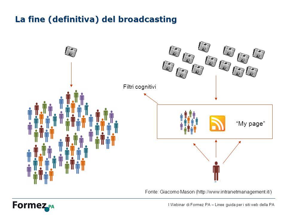 I Webinar di Formez PA – Linee guida per i siti web della PA La fine (definitiva) del broadcasting My page Filtri cognitivi Fonte: Giacomo Mason (http