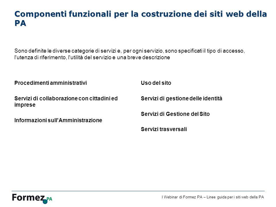 I Webinar di Formez PA – Linee guida per i siti web della PA Sono definite le diverse categorie di servizi e, per ogni servizio, sono specificati il t