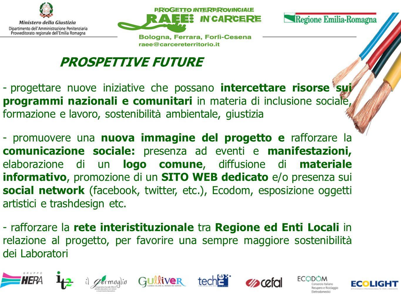 PROSPETTIVE FUTURE - progettare nuove iniziative che possano intercettare risorse sui programmi nazionali e comunitari in materia di inclusione social