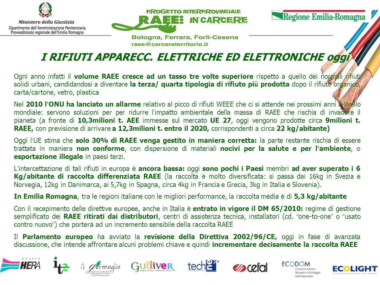 Con il sostegno della Regione Emilia Romagna, dellAmministrazione penitenziaria regionale e delle Case Circondariali, della multiutility Hera spa, il progetto promuove opportunità di lavoro nel settore del recupero RAEE Rifiuti da Apparecchiature Elettriche e Elettroniche Con il contributo dei Consorzi di Produttori Ecodom e Ecolight, le cooperative sociali in collaborazione con le agenzie formative, impegnano lavoratori in esecuzione penale nel processo di trattamento dei RAEE tramite laboratori produttivi opportunamente attrezzati allinterno ed allesterno delle carceri di Bologna, Ferrara, Forlì