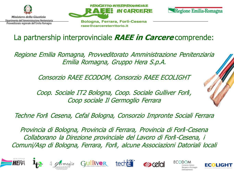 La partnership interprovinciale RAEE in Carcere comprende: Regione Emilia Romagna, Provveditorato Amministrazione Penitenziaria Emilia Romagna, Gruppo