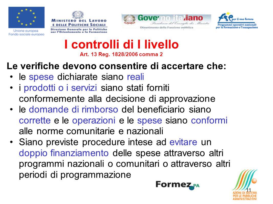 11 I controlli di I livello Art. 13 Reg. 1828/2006 comma 2 Le verifiche devono consentire di accertare che: le spese dichiarate siano reali i prodotti