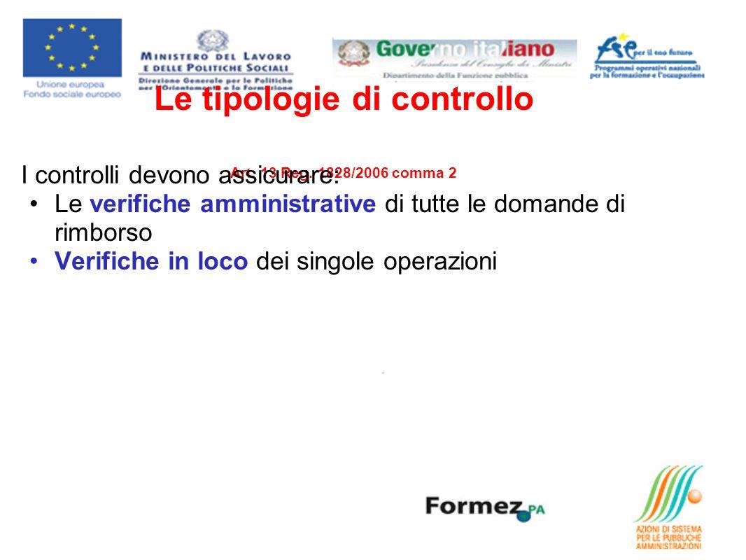 Le tipologie di controllo Art. 13 Reg. 1828/2006 comma 2 I controlli devono assicurare: Le verifiche amministrative di tutte le domande di rimborso Ve