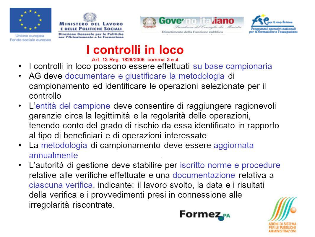 I controlli in loco Art. 13 Reg. 1828/2006 comma 3 e 4 I controlli in loco possono essere effettuati su base campionaria AG deve documentare e giustif