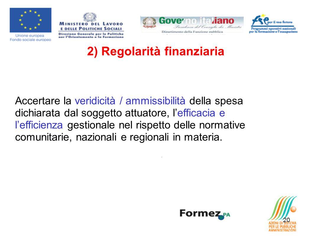 20 2) Regolarità finanziaria Accertare la veridicità / ammissibilità della spesa dichiarata dal soggetto attuatore, lefficacia e lefficienza gestionale nel rispetto delle normative comunitarie, nazionali e regionali in materia.