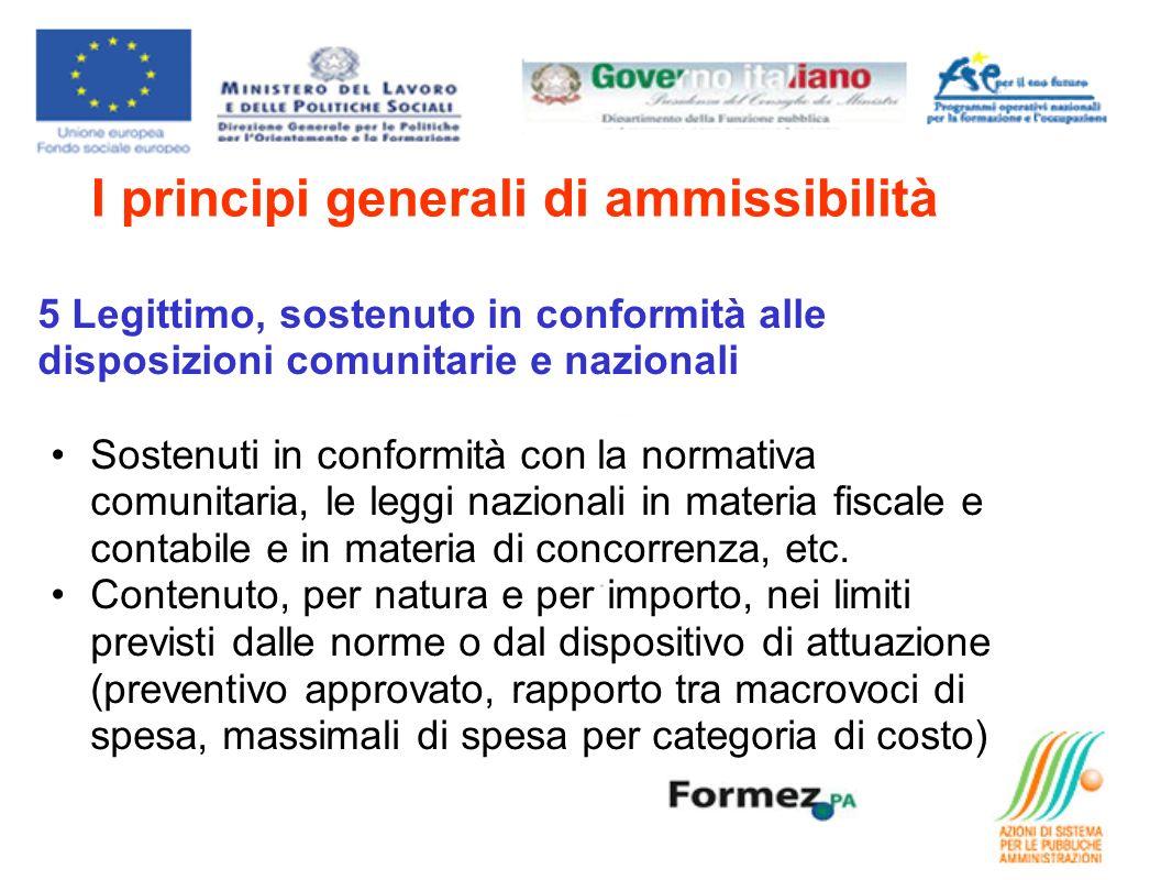 I principi generali di ammissibilità 5 Legittimo, sostenuto in conformità alle disposizioni comunitarie e nazionali Sostenuti in conformità con la normativa comunitaria, le leggi nazionali in materia fiscale e contabile e in materia di concorrenza, etc.