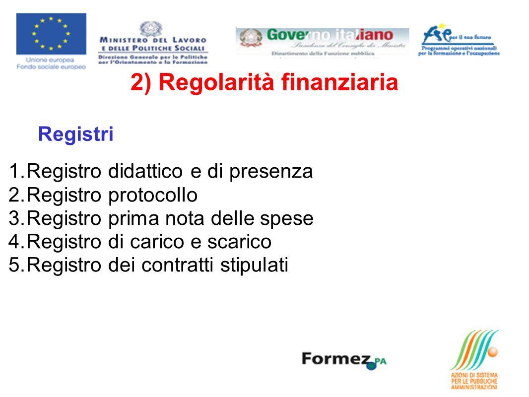 1.Registro didattico e di presenza 2.Registro protocollo 3.Registro prima nota delle spese 4.Registro di carico e scarico 5.Registro dei contratti stipulati Registri 2) Regolarità finanziaria