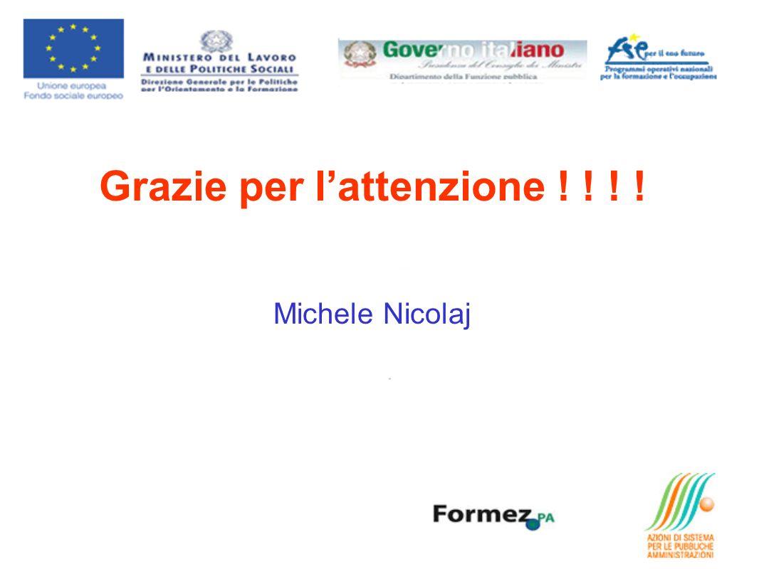 Grazie per lattenzione ! ! ! ! Michele Nicolaj