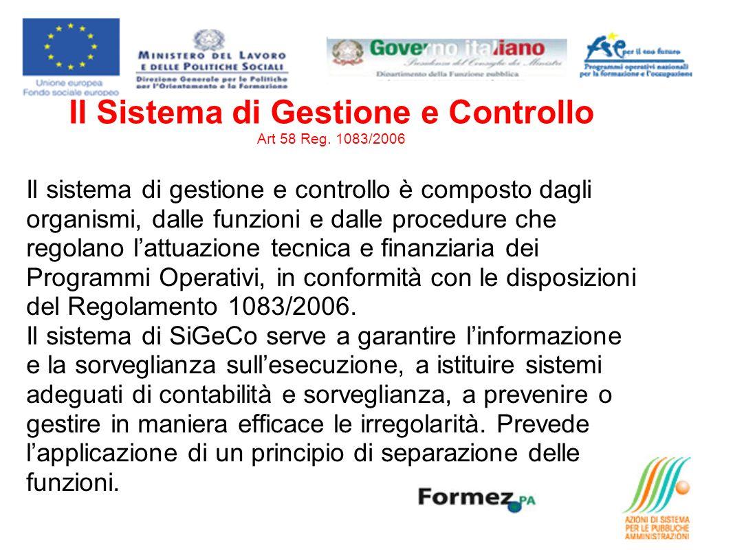 Il Sistema di Gestione e Controllo Art 58 Reg. 1083/2006 Il sistema di gestione e controllo è composto dagli organismi, dalle funzioni e dalle procedu