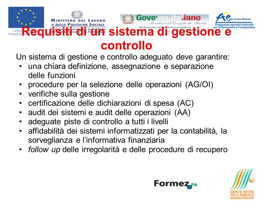 Requisiti di un sistema di gestione e controllo Un sistema di gestione e controllo adeguato deve garantire: una chiara definizione, assegnazione e sep