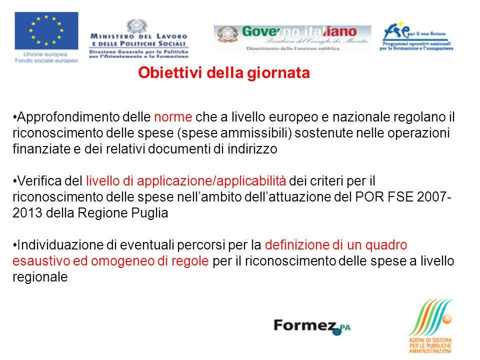 Obiettivi della giornata Approfondimento delle norme che a livello europeo e nazionale regolano il riconoscimento delle spese (spese ammissibili) sostenute nelle operazioni finanziate e dei relativi documenti di indirizzo Verifica del livello di applicazione/applicabilità dei criteri per il riconoscimento delle spese nellambito dellattuazione del POR FSE 2007- 2013 della Regione Puglia Individuazione di eventuali percorsi per la definizione di un quadro esaustivo ed omogeneo di regole per il riconoscimento delle spese a livello regionale