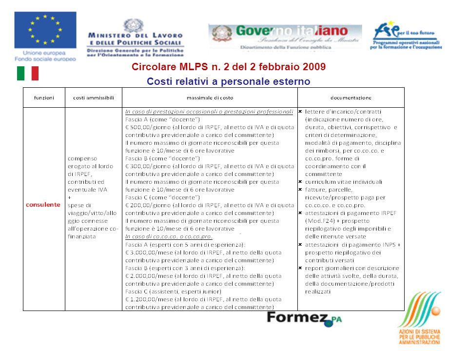 Circolare MLPS n. 2 del 2 febbraio 2009 Costi relativi a personale esterno