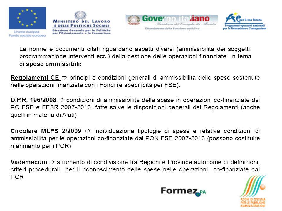Le norme e documenti citati riguardano aspetti diversi (ammissibilità dei soggetti, programmazione interventi ecc.) della gestione delle operazioni finanziate.